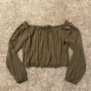 Army green strapless cinched crop top